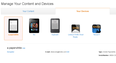 Image of the amazon Manage Your Content and Devices page showing the location of a device's serial number in the Your Devices section